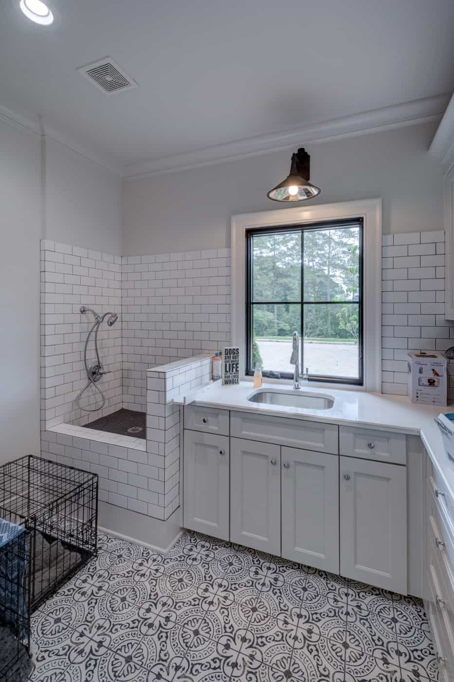 contemporary-ranch-style-laundry-room-with-dog-shower