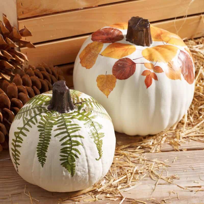 decoupage-fall-leaves-on-faux-pumpkins