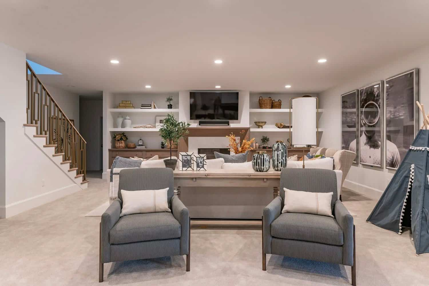 French-modern-style-basement-family-room