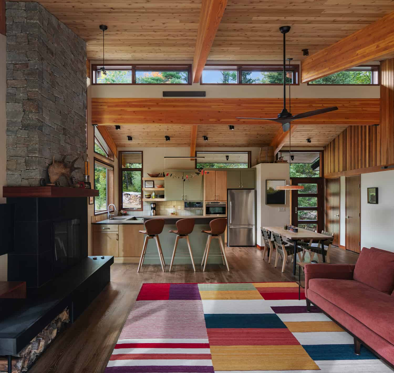 mid-century-modern-living-room-with-a-fireplace