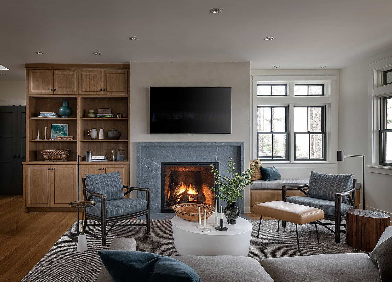 modern-coastal-style-living-room-with-a-fireplace