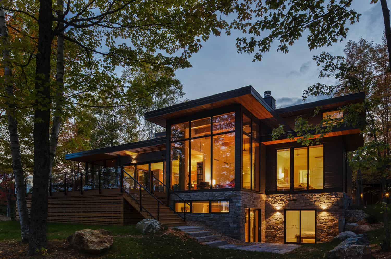 modern-lake-cottage-exterior-dusk