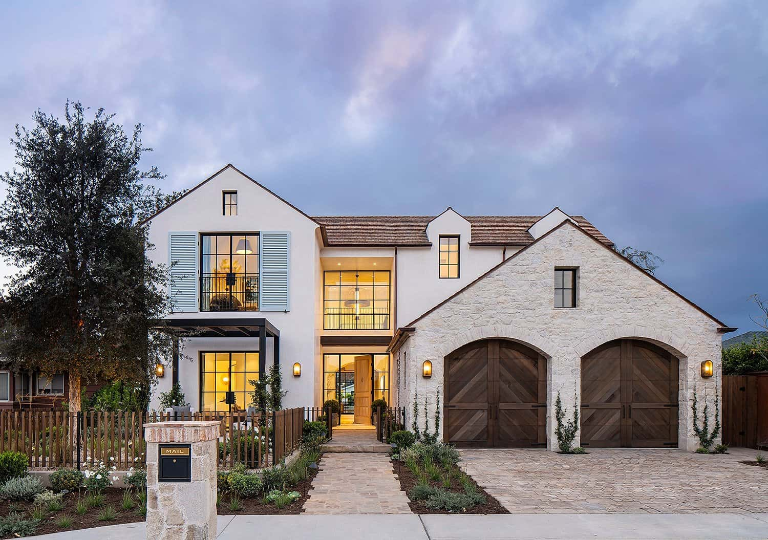 transitional-french-style-home-exterior-dusk