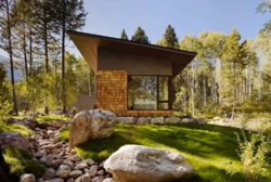 950 Square foot guest cabin in Wyoming immersed in a woodsy setting